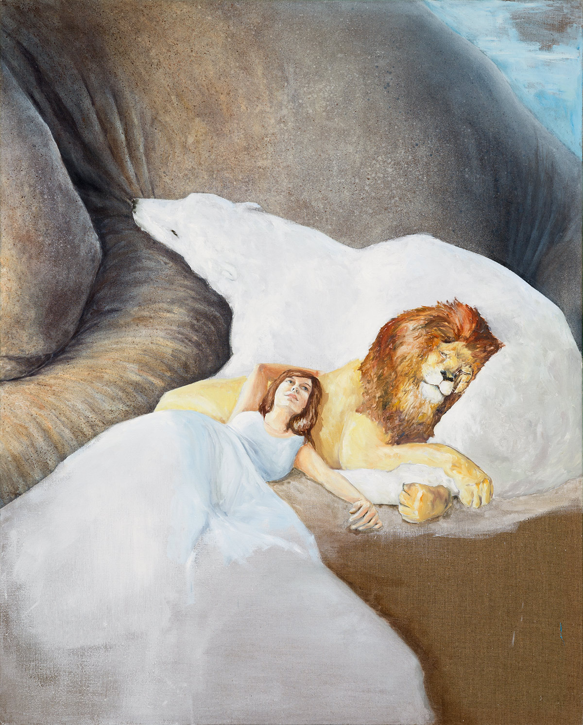 Self-Portrait with Dinosaur. 180x145 cm, olja på duk, 2012